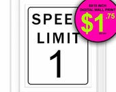 Black and White, Typography Print, Wall Print, Wall Decor, Road Sign Printable, Speed Limit 1, Kids Room, Downloadable Print, Number 1, DIY