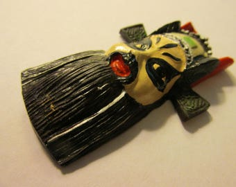 "Hand Painted Black-Red Resin Chinese Peking Opera Mask, 2 1/2"""
