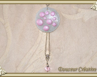 Translucent pearly white rose necklace 103014