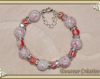 Red white pink beads bracelet 101022 translucent effect