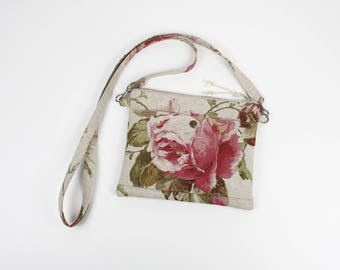 Shoulder pouch in natural linen cotton and floral satin