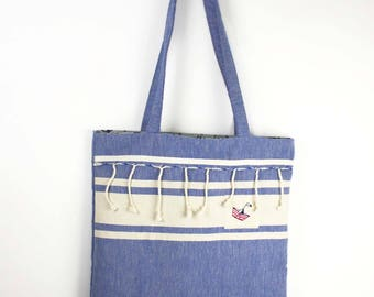 Tote bag beach bag in blue cotton fringed double cotton anchor print