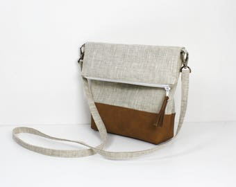 """Clutch bag """"simply"""" folded shoulder faux leather and natural linen"""