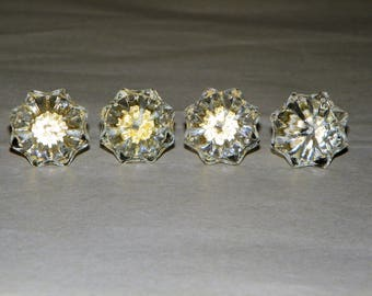 "Clear Glass Knobs, 1"" Wide Glass Drawer Pulls, Set of 4"