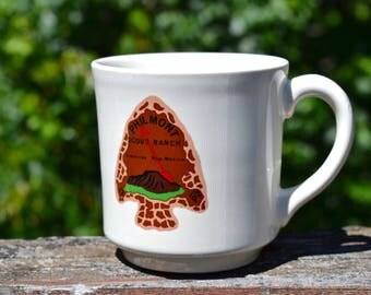 Vintage 1970s Boy Scouts Philmont Scout Ranch Coffee Mug. Order of the Arrow. Cimarron, N. M. Arrowhead Graphic. BSA Coffee Cup.  VCMS220