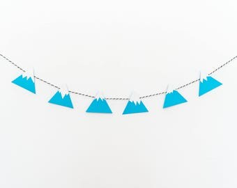 Mountain banner, Mountain garland, Snowcapped Mountain banner, Blue mountain banner, Nursery decor, Woodland bunting, Woodland nursery decor
