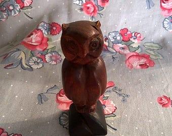 Vintage Hand Carved Wood Owl Figurine