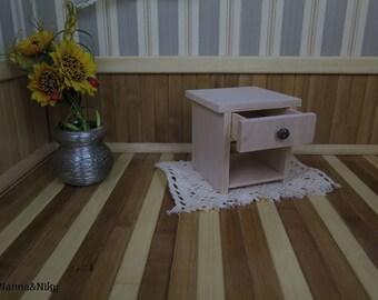 Comodino in legno fatto a mano con cassetto per Blythe doll