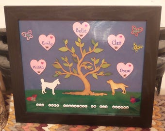 Personalised pet family tree, dog, cat, rabbit