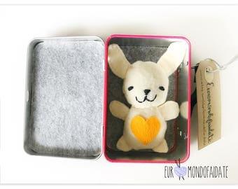 Bunny in felt inside his handmade bunny Tin House