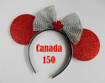 "Canada Day 150 Maple Leaf Mouse Ears - ""Oh Canada"" Sparkle Canada Flag Minnie Ears MADE TO ORDER"