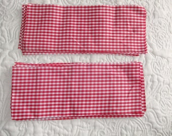 LOT 8 coupons satin fabric on both sides, red and white gingham, 25 cm x 9.5 cm