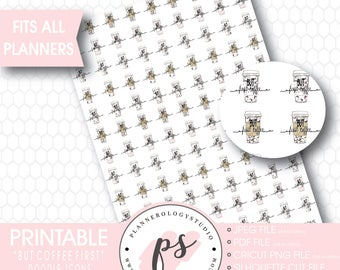 But Coffee First Hand Drawn Doodle Icon Printable Planner Stickers | JPG/PDF/Silhouette Cut Files