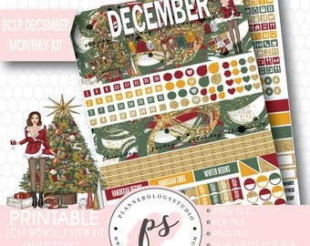 Mistletoe Christmas December Monthly View Kit Printable Planner Stickers (for Erin Condren ECLP) | JPG/PDF/Silhouette Cut File
