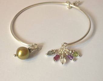 925 sterling silver open Bangle Bracelet