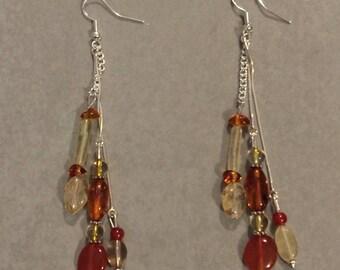 Earrings amber citrine, Carnelian
