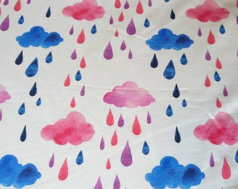 Watercolour painted rainy clouds in white French terry, one unit is 0.5 metre
