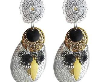 Earring clip black Fez (made in France)