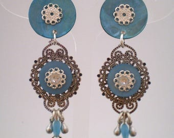 india turquoise clips. (made in France)