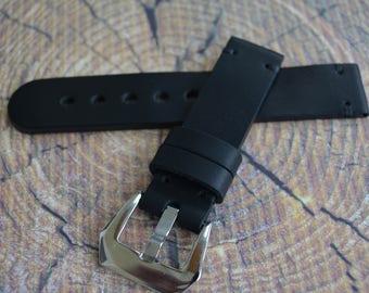 Black watch strap, leather watch strap 19mm 20mm 21mm 22mm 23mm 24mm handmade