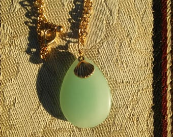 Aqua seaglass pendant necklace