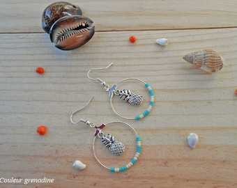 Hoop earrings stay in seed beads, turquoise, gift idea celebrating the grand mothers, Easter