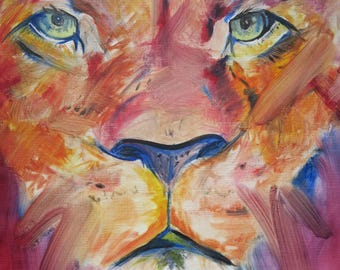 Lion - Fine Art Giclee Lion Animal Print - Wall Decor - Oil Painting by Sophie Latifa