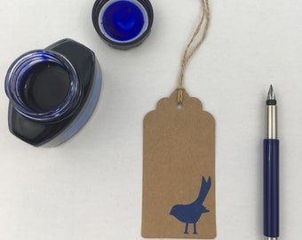 Recycled Upcycled Gift Tags with a either a Bird or a Cat Design in a colour of your choice