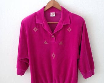 5 DOLLAR SALE - 80s Hot Pink Velour with Gold Pyramids Collared Top Size Medium