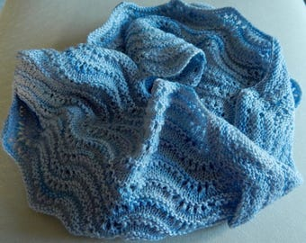 Hand knitted Snood, Infinity scarf, Cowl in Light Blue 4ply wool - hand dyed