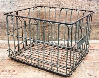Wire Milk Crate | Metal Milk Crate | Milk Bottle Crate | Vintage Metal Storage | Warner's Dairy | Industrial Storage | Steampunk Supply