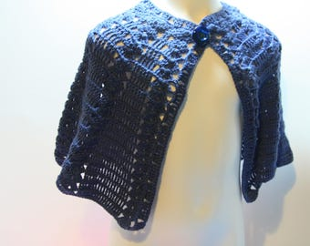 Midnight Blue poncho crochet for children 4/5 years
