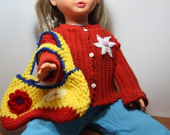 Bag has dripped red and yellow child crochet.