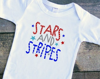 Stars and stripes 4th of July baby girl boy bodysuit toddler tshirt