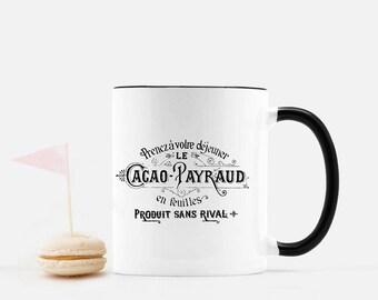 Vintage French Cacao Mug, Chocolate Cocoa Typography Mug, Tea Cup, Coffee Mug, Country Farmhouse Decor Ceramic Black and White Mug Wedding