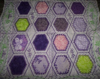 Grandmother's  Applique Flower Garden  Applique Hexagon Quilt Kit Precut Machine Embroidered  20 12 inch Blocks   68 x 80