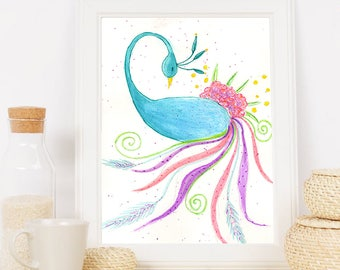 Illustrations watercolor Peacock, Peacock illustration, Peacock wall decor, watercolor poster for home decor with animal