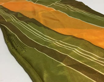 Vintage Scarf - Yellow Green - Girly Scarf - Square Scarf - Retro Scarf
