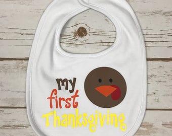 My First Thanksgiving Baby Bib - 1st Thanksgiving Bib - Baby's First Thanksgiving - Happy Thanksgiving