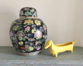 Large vintage Chinese ginger jar, black multicolour floral design.