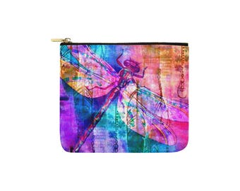 Rainbow Dragonfly Carry all pouch, makeup pouch, art supply bag, toiletries bag