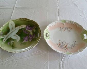 """2 antique porcelain 10.25"""" & 10.50"""" cake plates w/ double handles - embossed hand painted gold trim purple flowers platters trays green art"""
