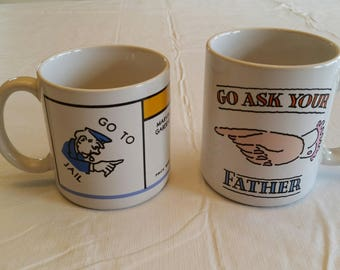 2 vintage coffee mugs / cups monopoly game 1984 & hallmark go ask your mother / father - comedy barware korea japan parker bros beverage art