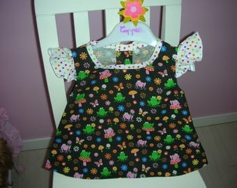blouse black FROG printed colorful frogs