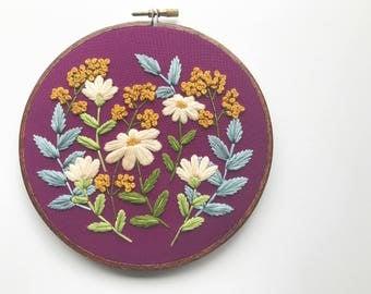 Embroidery Hoop Art Embroidery Hand Embroidery Hoop Embroidery Custom Embroidery Floral Gift for Her Birthday Gift Hoffelt and Hooper