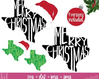 4 Texas Christmas - Texas svg - Merry Christmas svg - Santa Hat svg - State of Texas Christmas