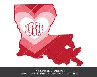 Louisiana Valentine svg - Louisiana svg - Valentines Day svg - Valentine Monogram - Valentine svg file - State Valentine