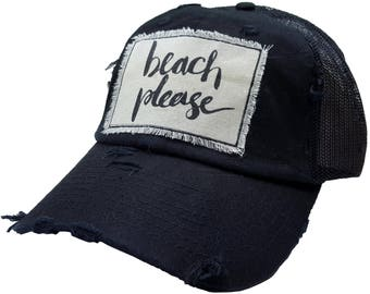 """Women's Trucker Hat, MBellished Black Trucker Cap """"Beach Please"""", Baseball, Trucker Hat, Trendy Cap, Beach, Cute Sayings, Popular"""