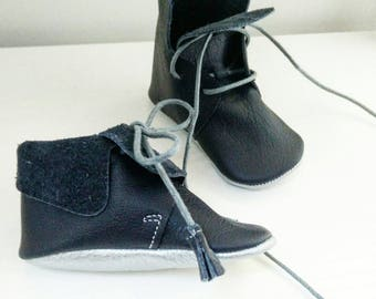 baby booties - 2 in 1 boots or Brogues stand-up half - 100% leather