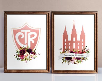 Set of 2 print, CTR choose the right, lds Temple, Instant Download Printable LDS Gift Art print Girls room decor, Burgundy wine flowers